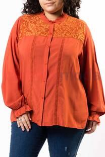 Camisa Cuello Mao Encaje y Puntilla  -