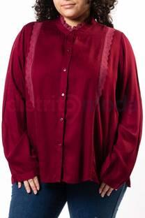 Camisa Cuello Mao Puntilla Broderie Delantero  -