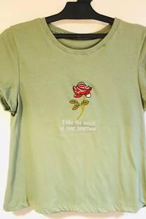 algodon remera bordado flores -