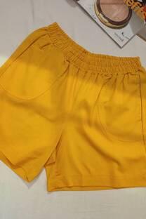 Short de lino spandex con bolsillos -