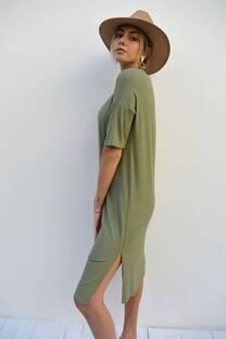 Vestido de morley largo con tajos laterales -