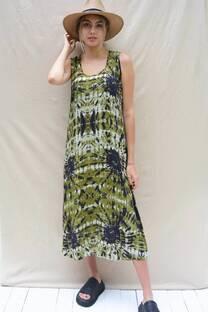 Vestido largo de fibrana batik con tajos laterales -
