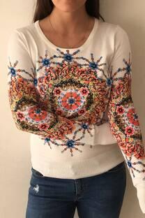Sweater de lycra con estampa mandalas -
