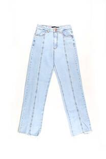 Straight leg hi rise jeans celeste rigido lavado costura al medio -