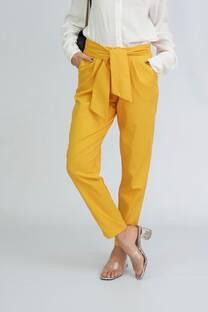 Pantalon babucha de lino spandex con lazo -