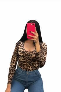 Body engomada Leopardo cuello redondo -