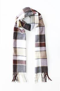 Bufanda de lana sintética con flecos.  Tamaño: 30 cm de ancho x 175 cm largo. -