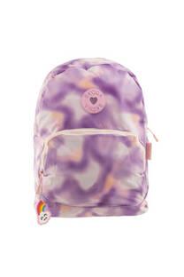 Mochila Skora de poliester con diseño de colores, bolsillo interno porta notebook, bolsillo frontal y tiras regulables.  -