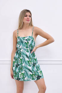 vestido fibrana estampada -