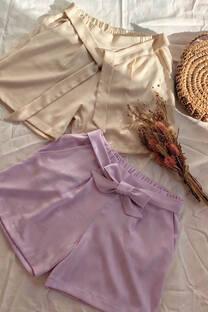 Short de lino con lazo y bolsillos