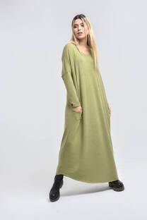 21377-Vestido largo c/bolsillo liso U -
