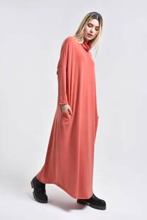 21376-Poleron Vestido largo con bolsillo -
