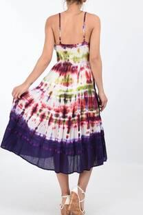 vestido batik con enagua, bordado y cintura elastizada -