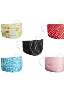 Barbijo de tela bicapa con estampado y elástico para niños x10 unidades sutidas -