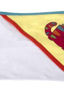 TOALLON CON CAPUCHA ,TOWELLCOLOR BORDADA CON APLIQUE -