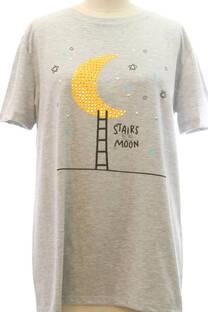 Remera Larga Luna con strass -