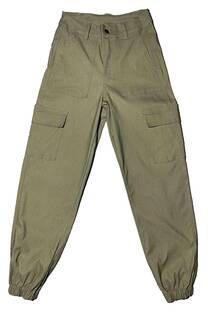 Pantalón cargo con bolsillos de bengalina -