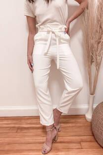 Pantalón sastre recto con lazo  -