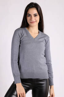 Sweater Fit Escote V Dama -