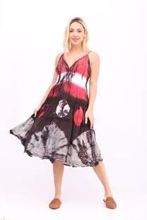 vestido batik con enagua, bordado y cintura elastizada