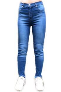 Jean azul desflecado  -