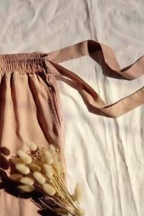 Pantalon babucha de lino elastizado con lazo  -