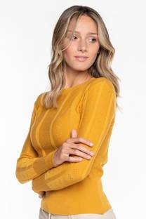 Sweater con detalle V punteado -