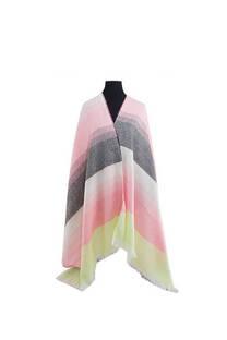Mantón clásico estampado de lana frizado desflecado -