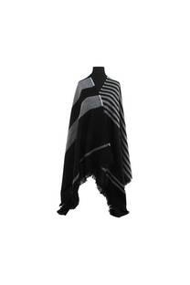 Mantón clásico estampado de lana frizado desflecado color Negro-blanco  Medidas: 75 cm x 185 cm. -