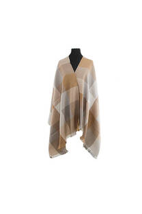 Mantón clásico estampado de lana frizado desflecado color Beige-caqui-visón -crudo  Medidas: 75 cm x 185 cm. -