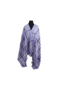 Mantón clásico estampado de lana frizado desflecado color Lila-gris-negro  Medidas: 75 cm x 185 cm. -