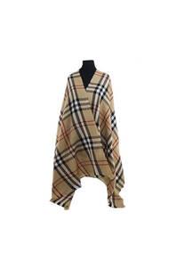 Mantón clásico estampado de lana frizado desflecado color Beige-Negro-crudo -rojo  Medidas: 75 cm x 185 cm. -