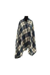 Mantón clásico estampado de lana frizado desflecado color Crudo-azul  Medidas: 75 cm x 185 cm. -