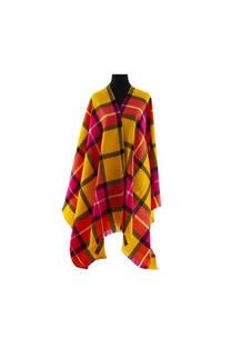 Mantón clásico estampado de lana frizado desflecado color Amarillo-púrpura-coral  Medidas: 75 cm x 185 cm. -