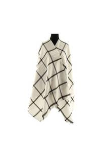 Mantón clásico estampado de lana frizado desflecado color Blanco-negro  Medidas: 75 cm x 185 cm. -