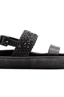 Sandalia Kandil Nogal Moda Verano Negro Plataforma Goma Eva -