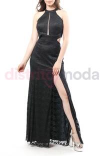 Vestido Largo Encaje Pecho con Transparencia  Espalda Descubierta con Tajo  -
