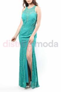 Vestido Largo Encaje Escote, Cintura, Espalda Transparente con Cierre Tajo Corte Sirena  -