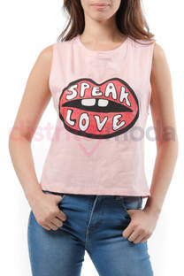 Musculosa Corta Boca Speak Love -