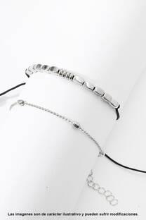 Tobillera de cordón con cuentas + Tobillera de cadena con cuentas. -