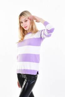 Sweater dos color rayado  -