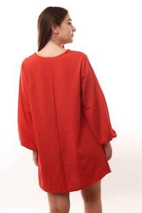 Vestido fibrana escote v manga larga -