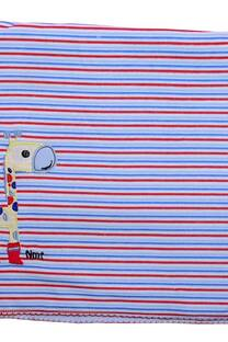 Manta de mano Inter rayado , reves algodón , PICOT y bordado , -