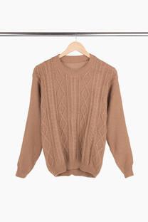 sweater acrílico rombos y trenzas  -
