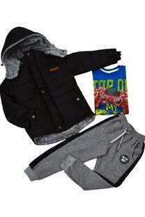 Pack campera abrigo corderito + remera premium + babucha -