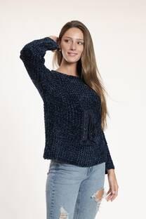 Sweater chenille con arandelas y cordón -