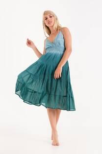 vestido degrade con enagua y cintura elastizada -