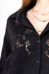 camisa broderie con bordado manga 3/4 -