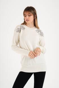 Sweater bremer con strass y piedra -