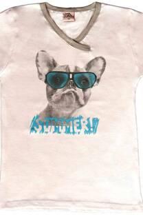 Remera de jersey con escote V cruzado y estampa de perro fotocromia -